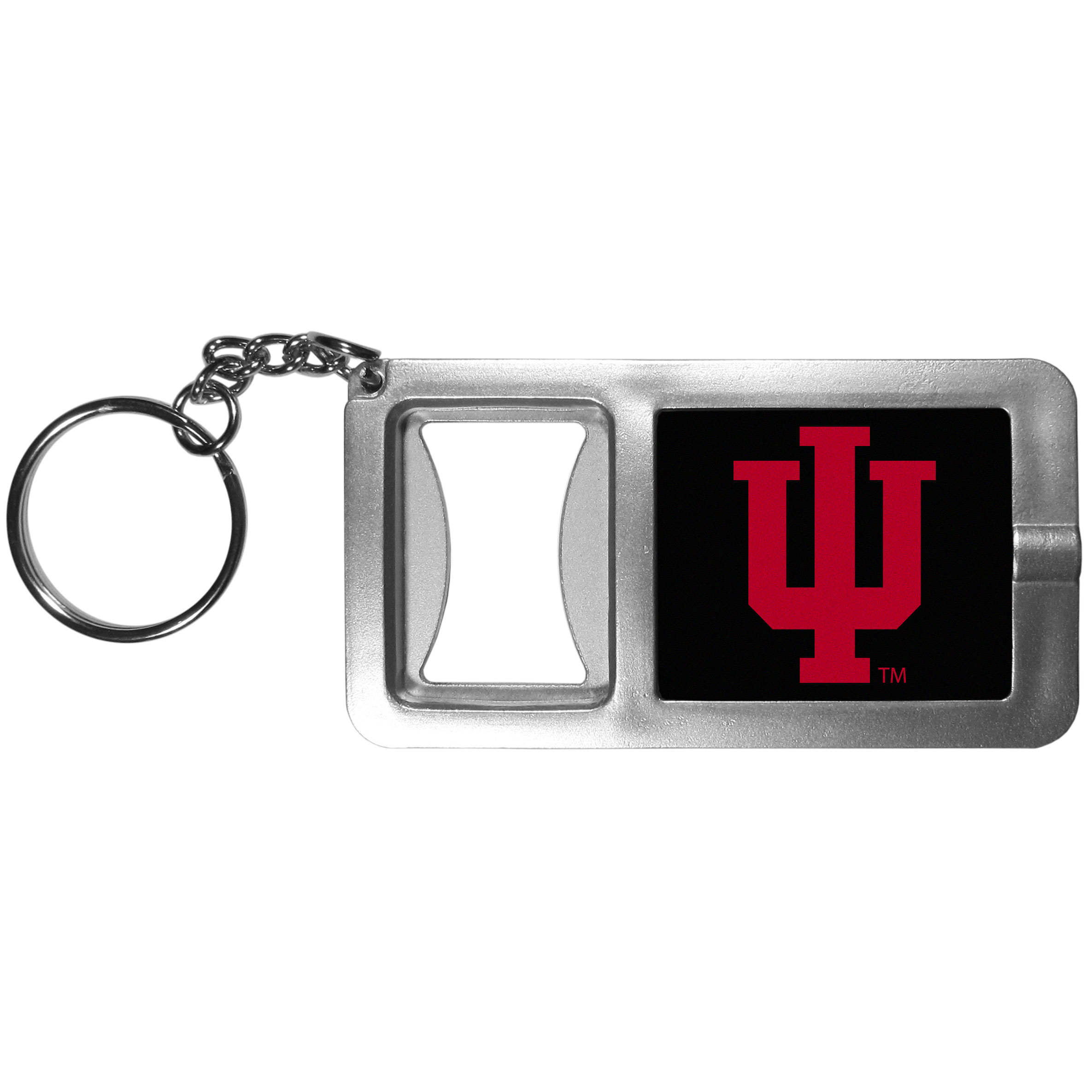 Indiana Hoosiers Flashlight Key Chain with Bottle Opener - Never be without light with our Indiana Hoosiers flashlight keychain that features a handy bottle opener feature. This versatile key chain is perfect for camping and travel and is a great way to show off your team pride!