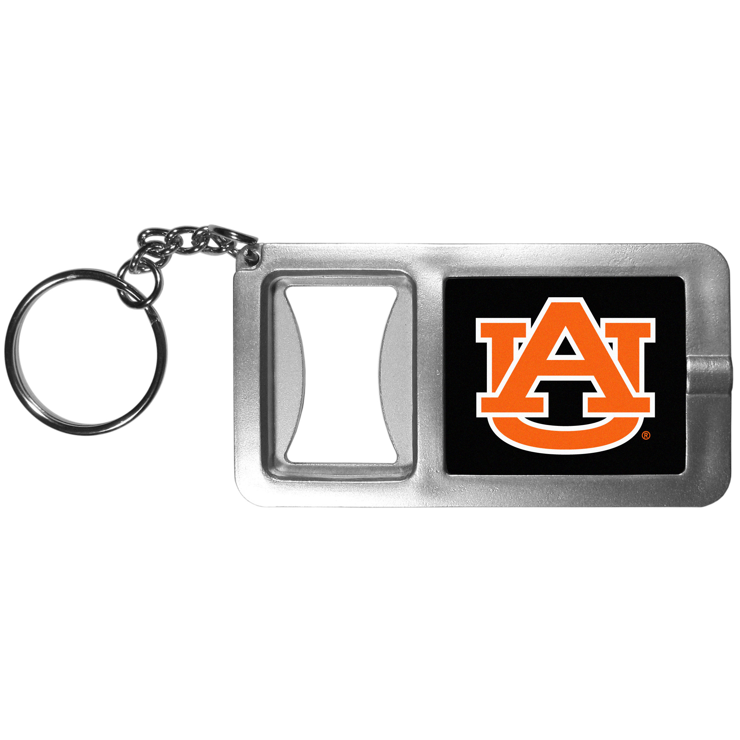 Auburn Tigers Flashlight Key Chain with Bottle Opener - Never be without light with our Auburn Tigers flashlight keychain that features a handy bottle opener feature. This versatile key chain is perfect for camping and travel and is a great way to show off your team pride!