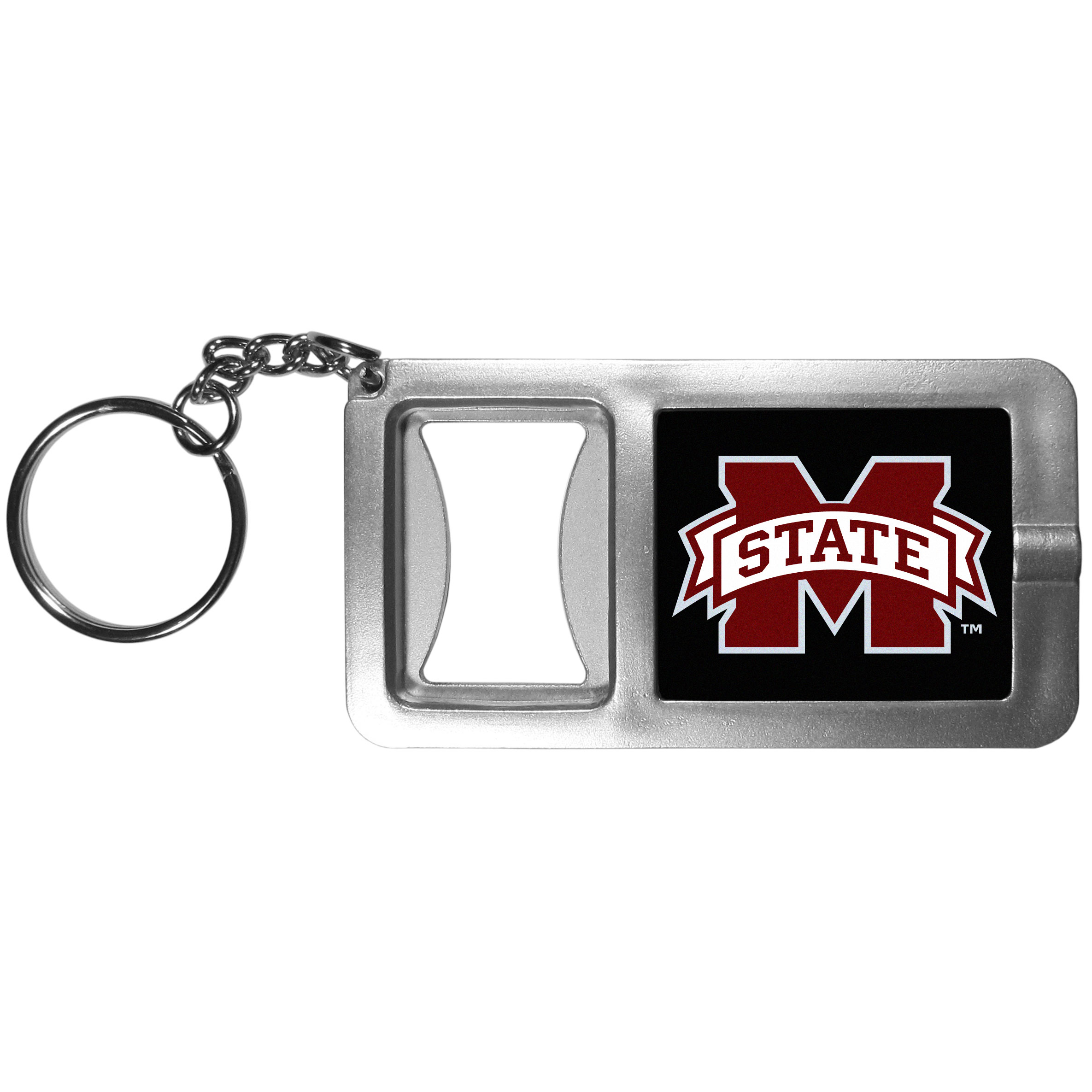 Mississippi St. Bulldogs Flashlight Key Chain with Bottle Opener - Never be without light with our Mississippi St. Bulldogs flashlight keychain that features a handy bottle opener feature. This versatile key chain is perfect for camping and travel and is a great way to show off your team pride!