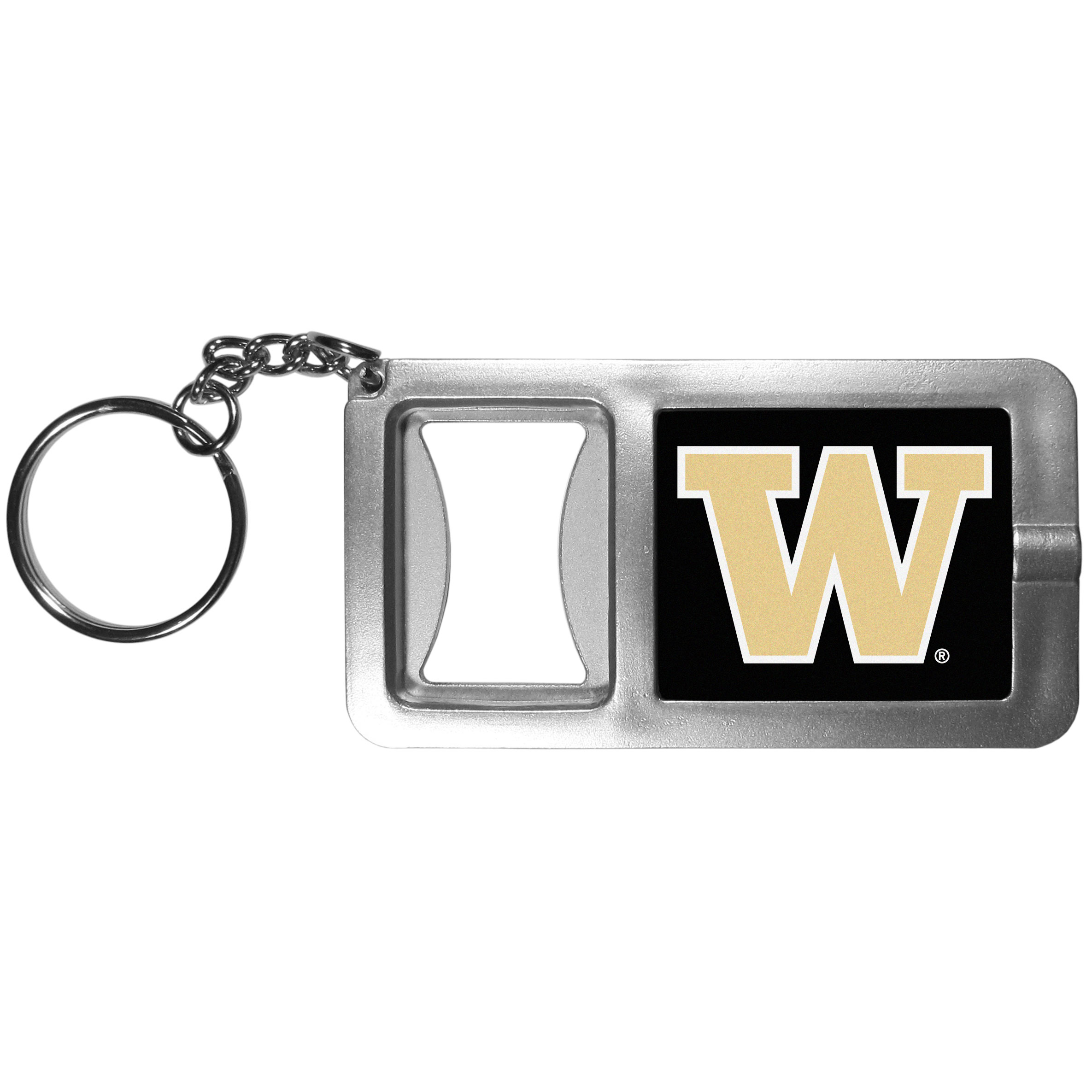 Washington Huskies Flashlight Key Chain with Bottle Opener - Never be without light with our Washington Huskies flashlight keychain that features a handy bottle opener feature. This versatile key chain is perfect for camping and travel and is a great way to show off your team pride!