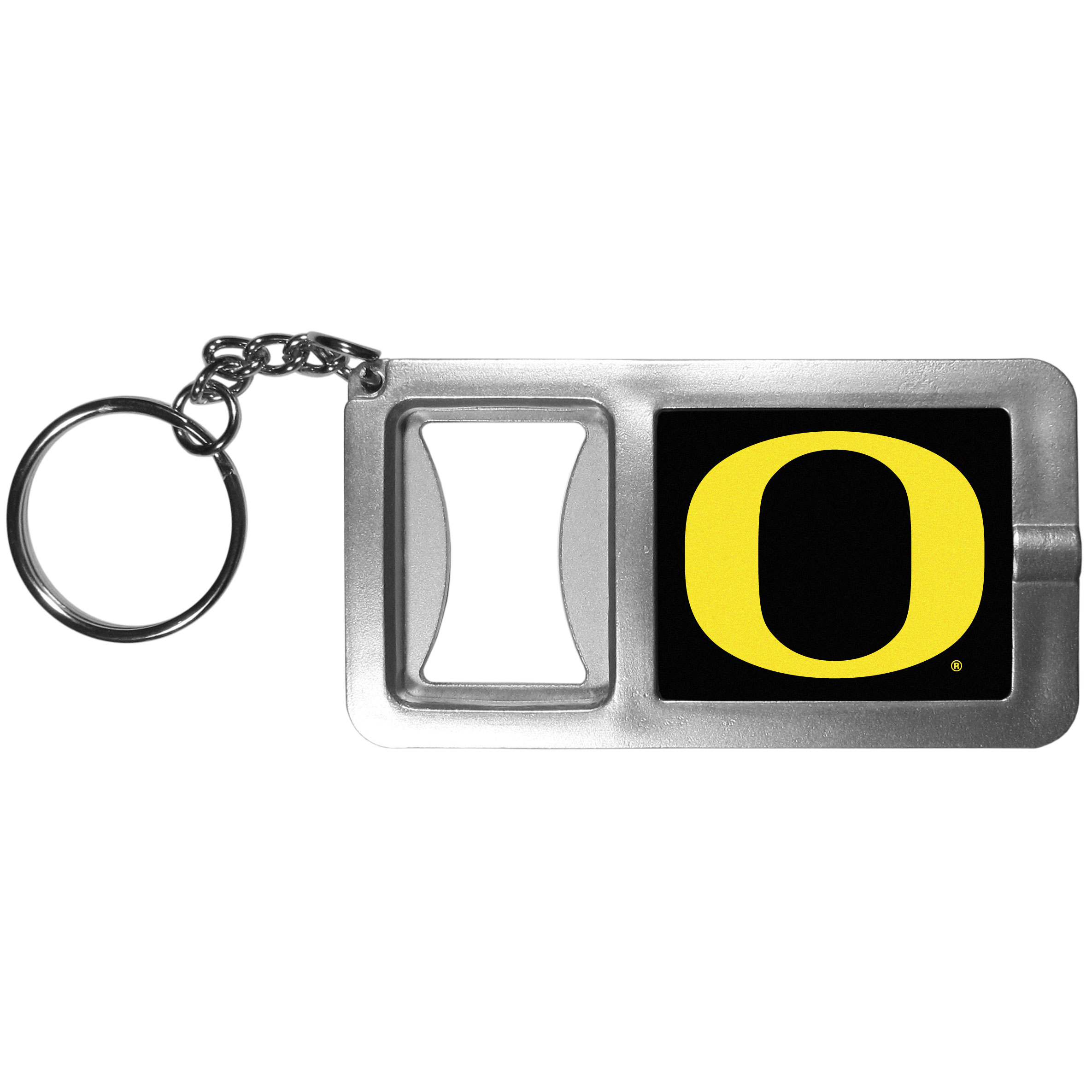 Oregon Ducks Flashlight Key Chain with Bottle Opener - Never be without light with our Oregon Ducks flashlight keychain that features a handy bottle opener feature. This versatile key chain is perfect for camping and travel and is a great way to show off your team pride!