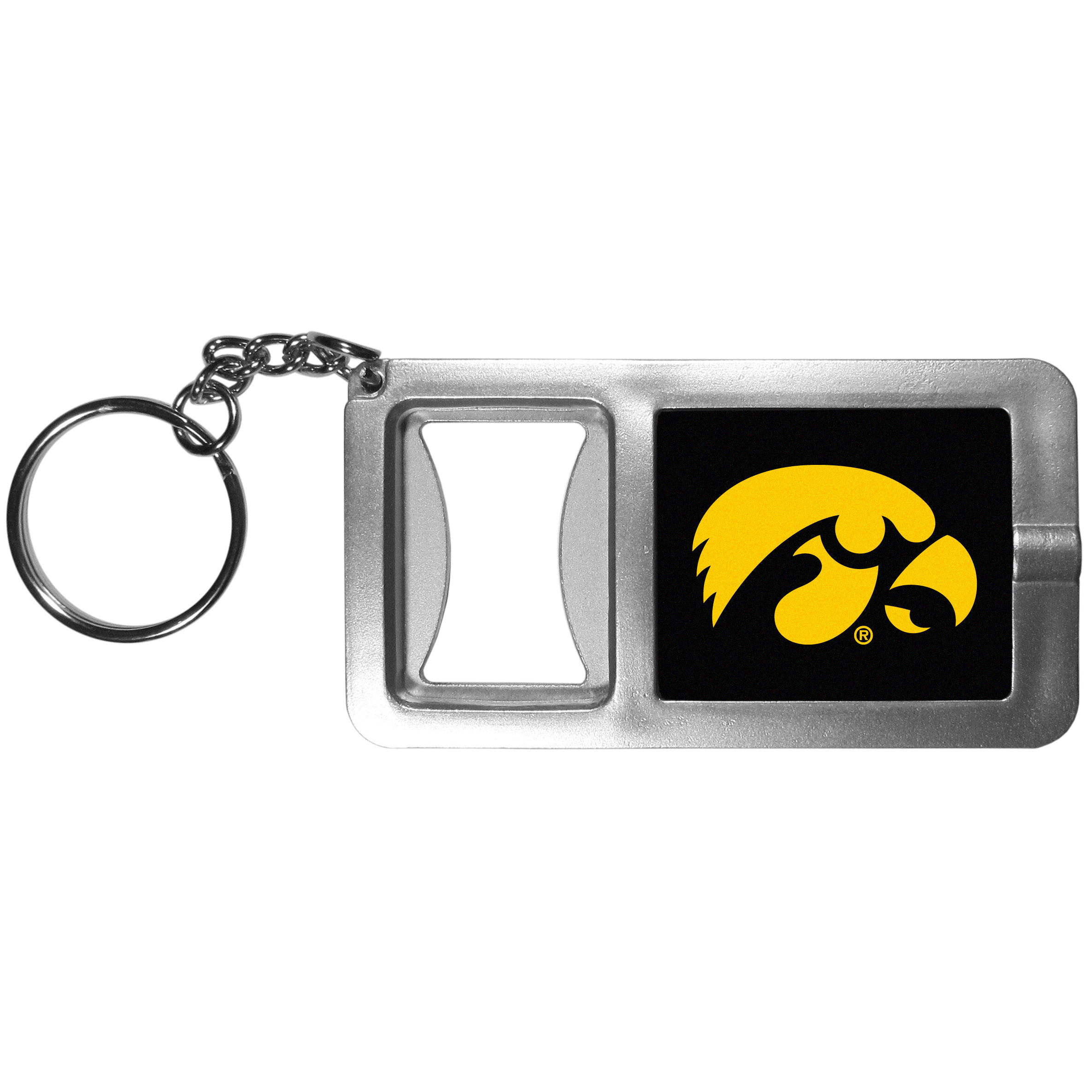 Iowa Hawkeyes Flashlight Key Chain with Bottle Opener - Never be without light with our Iowa Hawkeyes flashlight keychain that features a handy bottle opener feature. This versatile key chain is perfect for camping and travel and is a great way to show off your team pride!