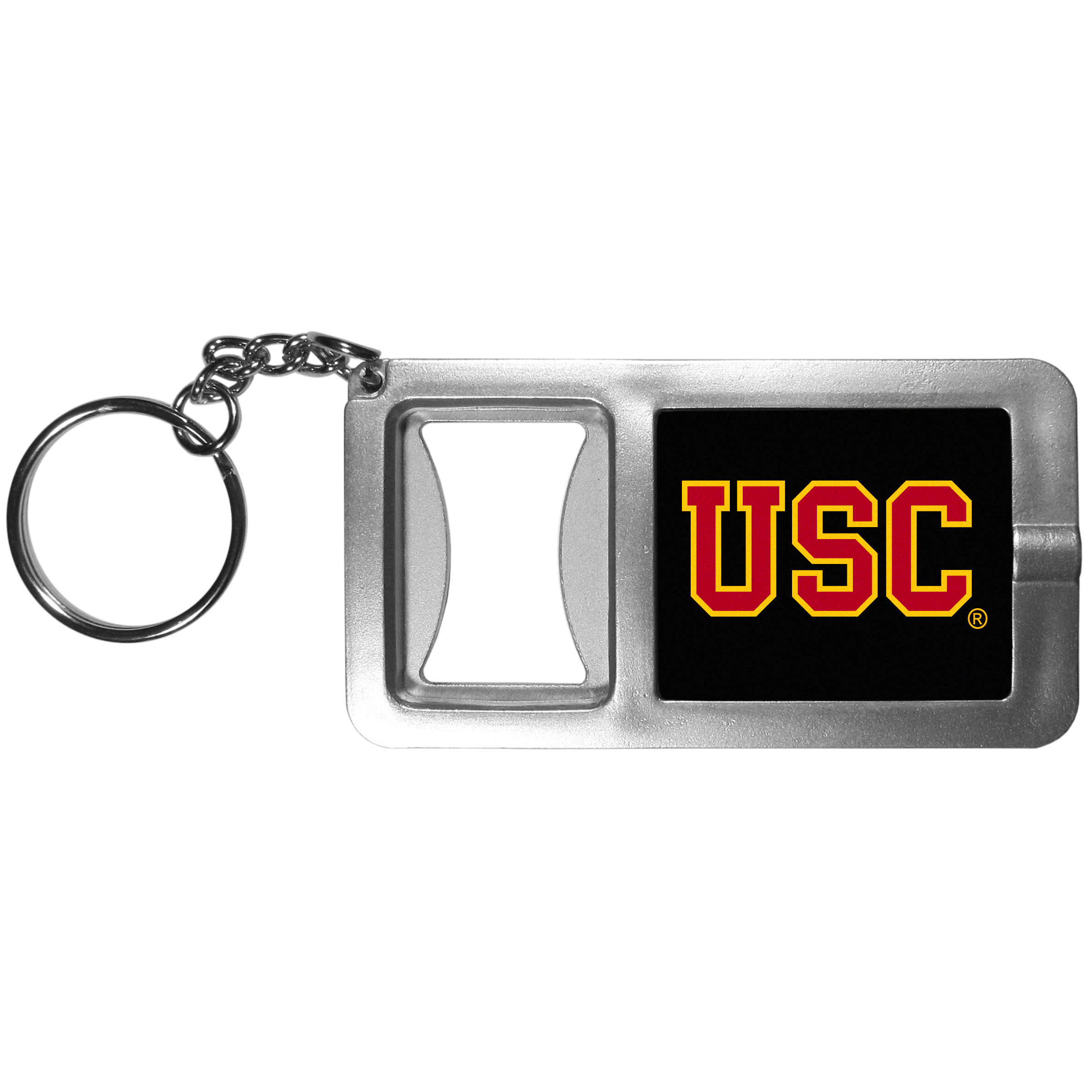 USC Trojans Flashlight Key Chain with Bottle Opener - Never be without light with our USC Trojans flashlight keychain that features a handy bottle opener feature. This versatile key chain is perfect for camping and travel and is a great way to show off your team pride!