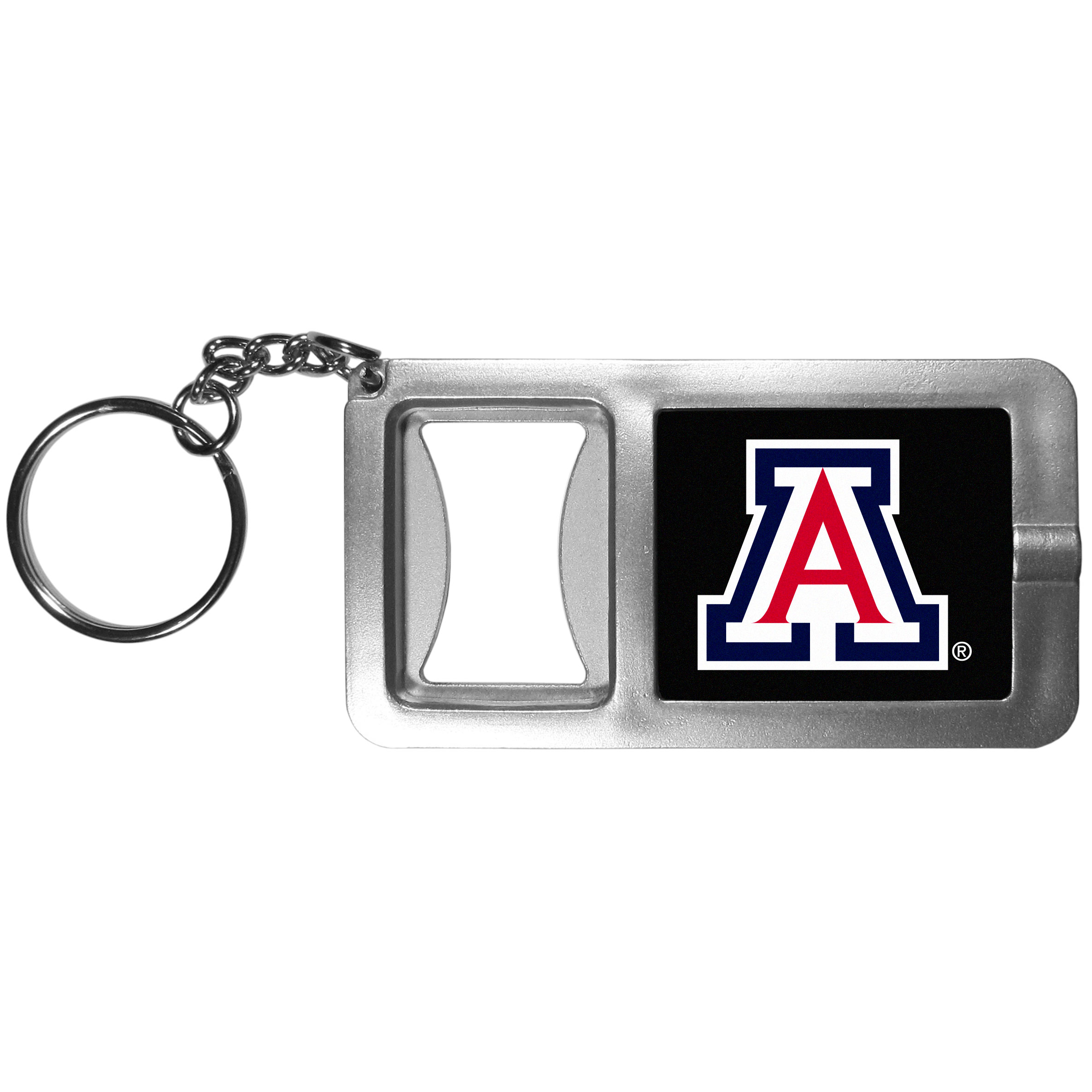 Arizona Wildcats Flashlight Key Chain with Bottle Opener - Never be without light with our Arizona Wildcats flashlight keychain that features a handy bottle opener feature. This versatile key chain is perfect for camping and travel and is a great way to show off your team pride!