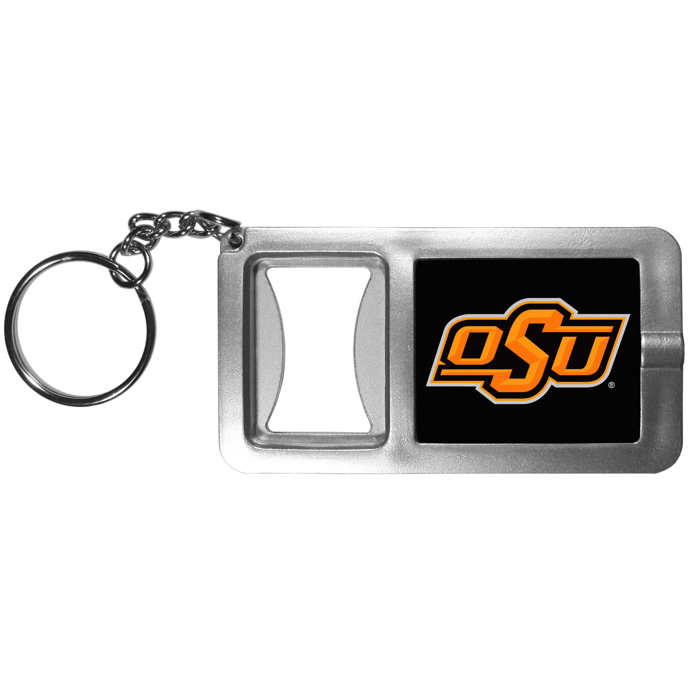 Oklahoma St. Cowboys Flashlight Key Chain with Bottle Opener - Never be without light with our Oklahoma St. Cowboys flashlight keychain that features a handy bottle opener feature. This versatile key chain is perfect for camping and travel and is a great way to show off your team pride!