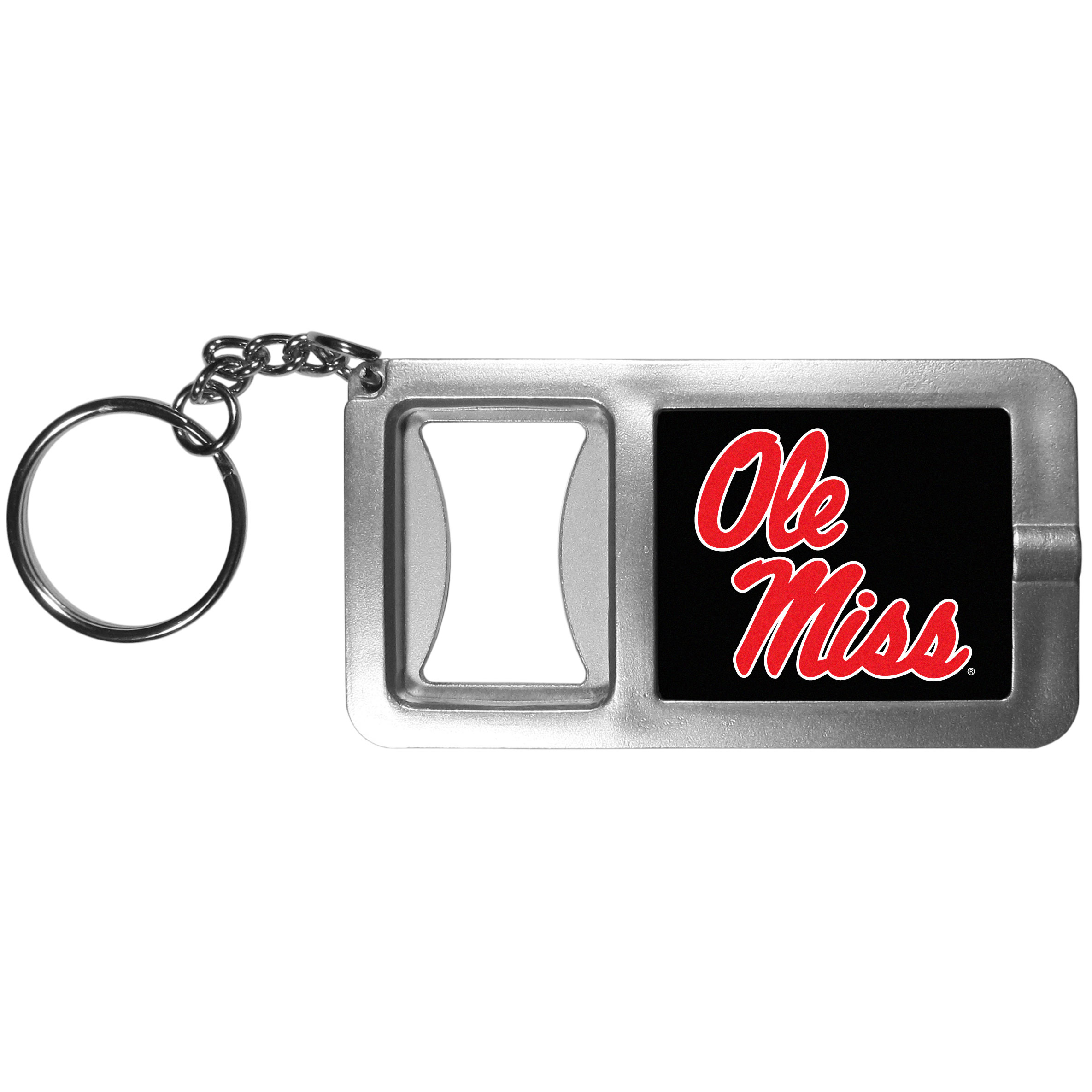 Mississippi Rebels Flashlight Key Chain with Bottle Opener - Never be without light with our Mississippi Rebels flashlight keychain that features a handy bottle opener feature. This versatile key chain is perfect for camping and travel and is a great way to show off your team pride!