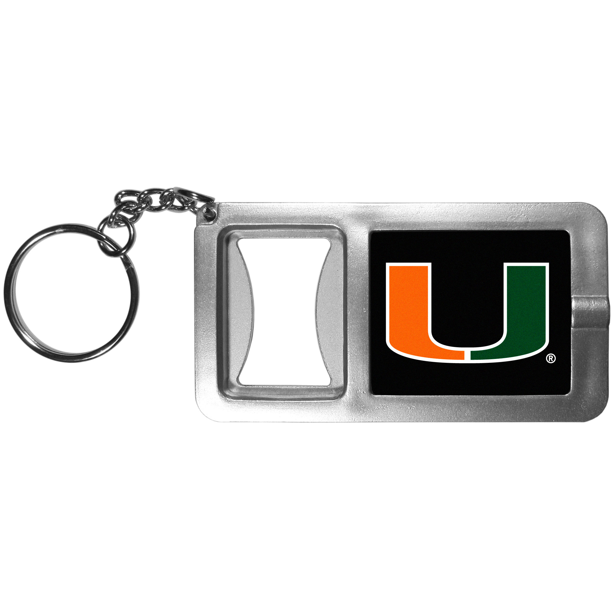 Miami Hurricanes Flashlight Key Chain with Bottle Opener - Never be without light with our Miami Hurricanes flashlight keychain that features a handy bottle opener feature. This versatile key chain is perfect for camping and travel and is a great way to show off your team pride!