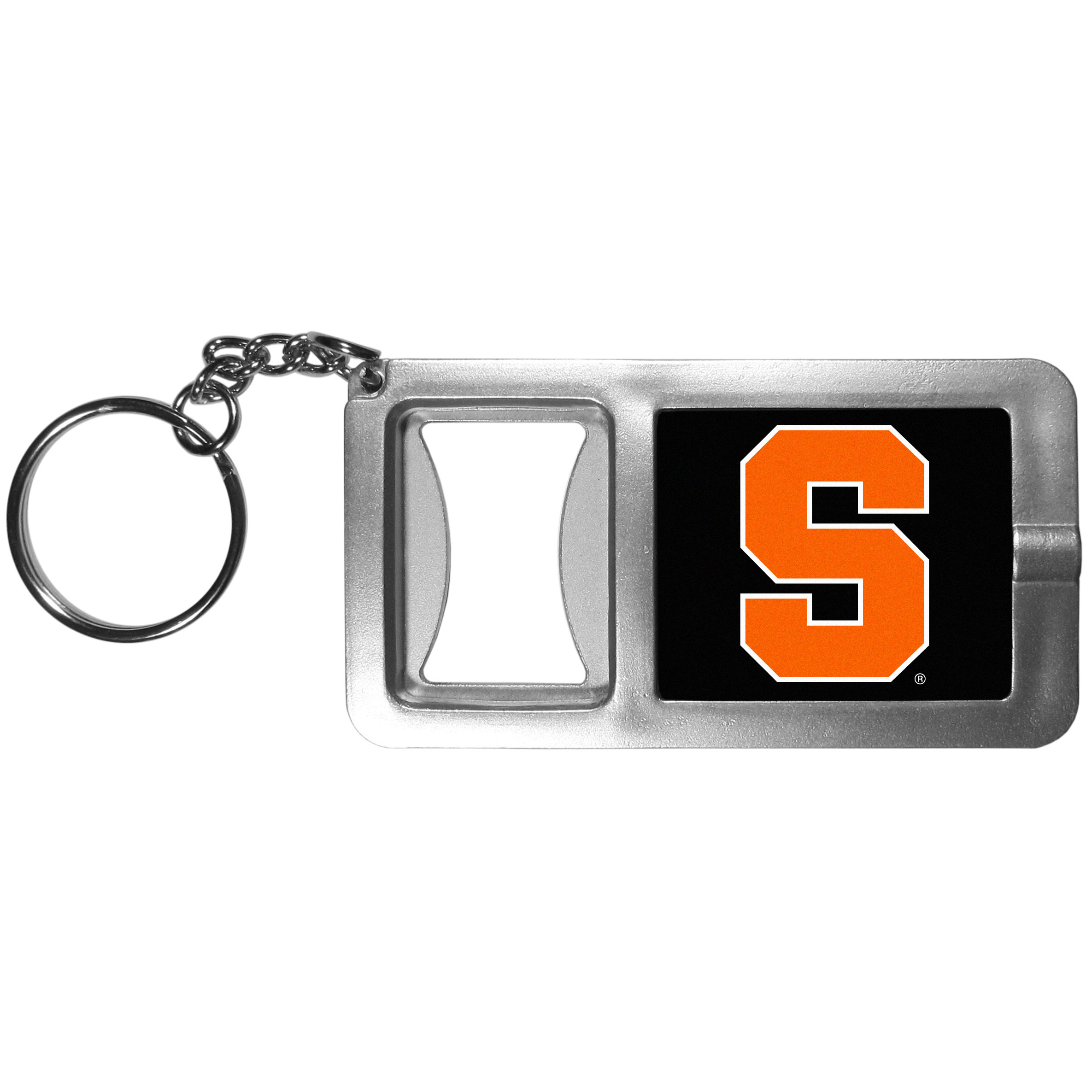 Syracuse Orange Flashlight Key Chain with Bottle Opener - Never be without light with our Syracuse Orange flashlight keychain that features a handy bottle opener feature. This versatile key chain is perfect for camping and travel and is a great way to show off your team pride!
