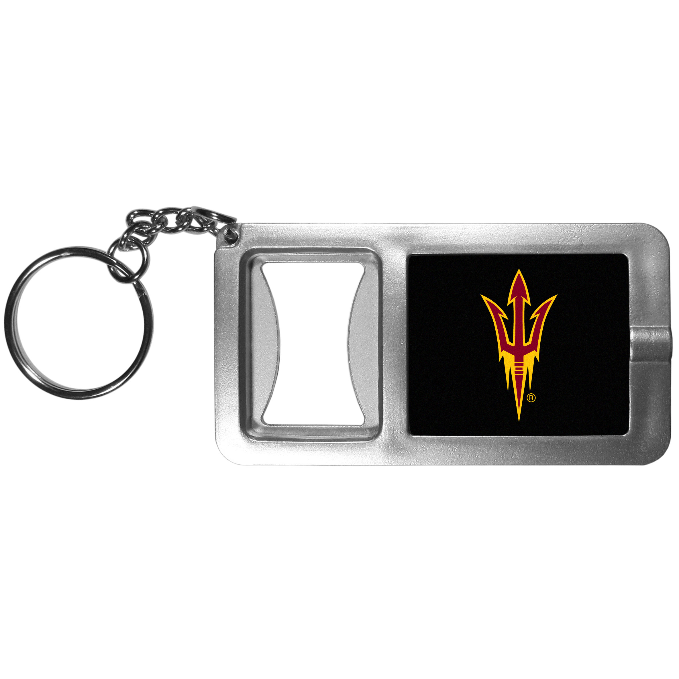 Arizona St. Sun Devils Flashlight Key Chain with Bottle Opener - Never be without light with our Arizona St. Sun Devils flashlight keychain that features a handy bottle opener feature. This versatile key chain is perfect for camping and travel and is a great way to show off your team pride!