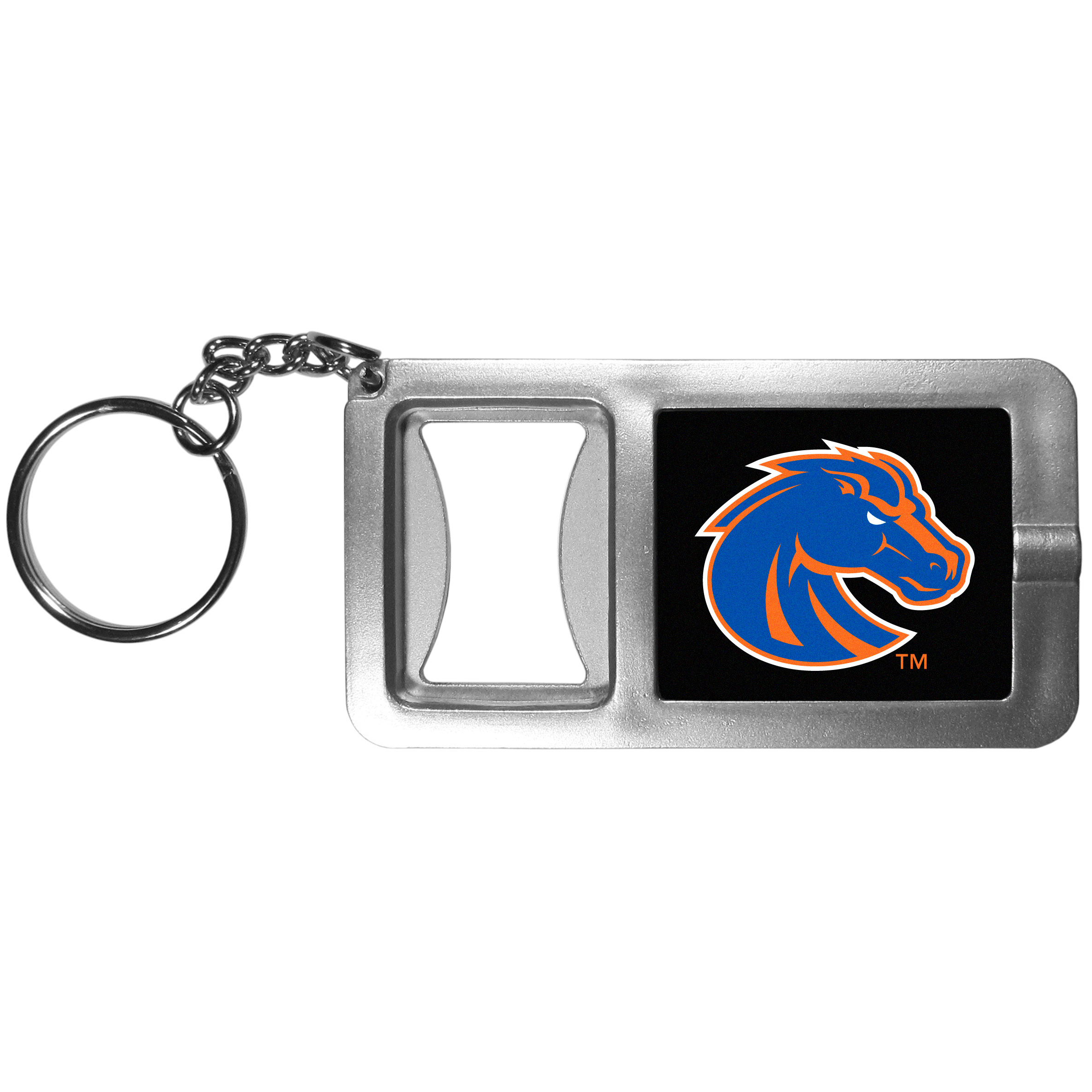 Boise St. Broncos Flashlight Key Chain with Bottle Opener - Never be without light with our Boise St. Broncos flashlight keychain that features a handy bottle opener feature. This versatile key chain is perfect for camping and travel and is a great way to show off your team pride!