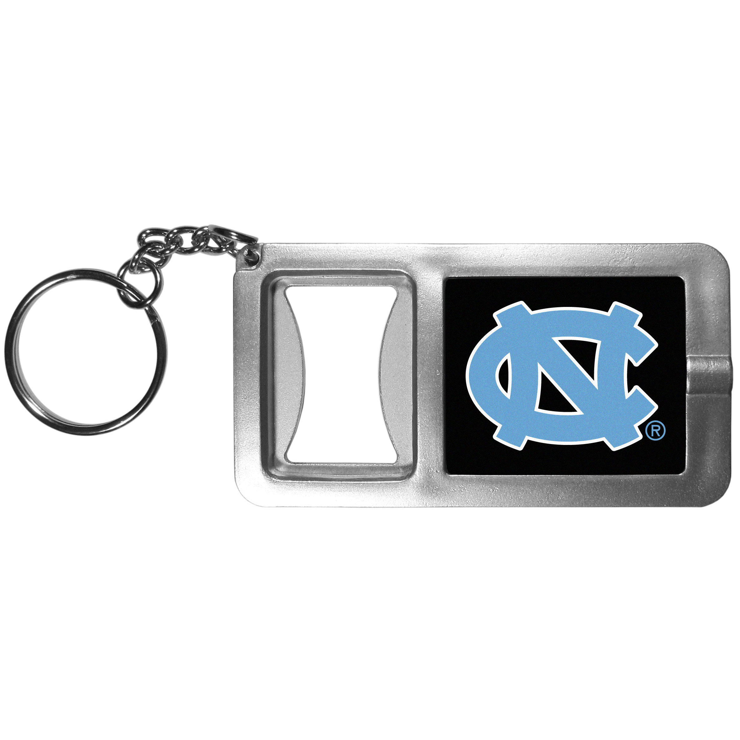 N. Carolina Tar Heels Flashlight Key Chain with Bottle Opener - Never be without light with our N. Carolina Tar Heels flashlight keychain that features a handy bottle opener feature. This versatile key chain is perfect for camping and travel and is a great way to show off your team pride!