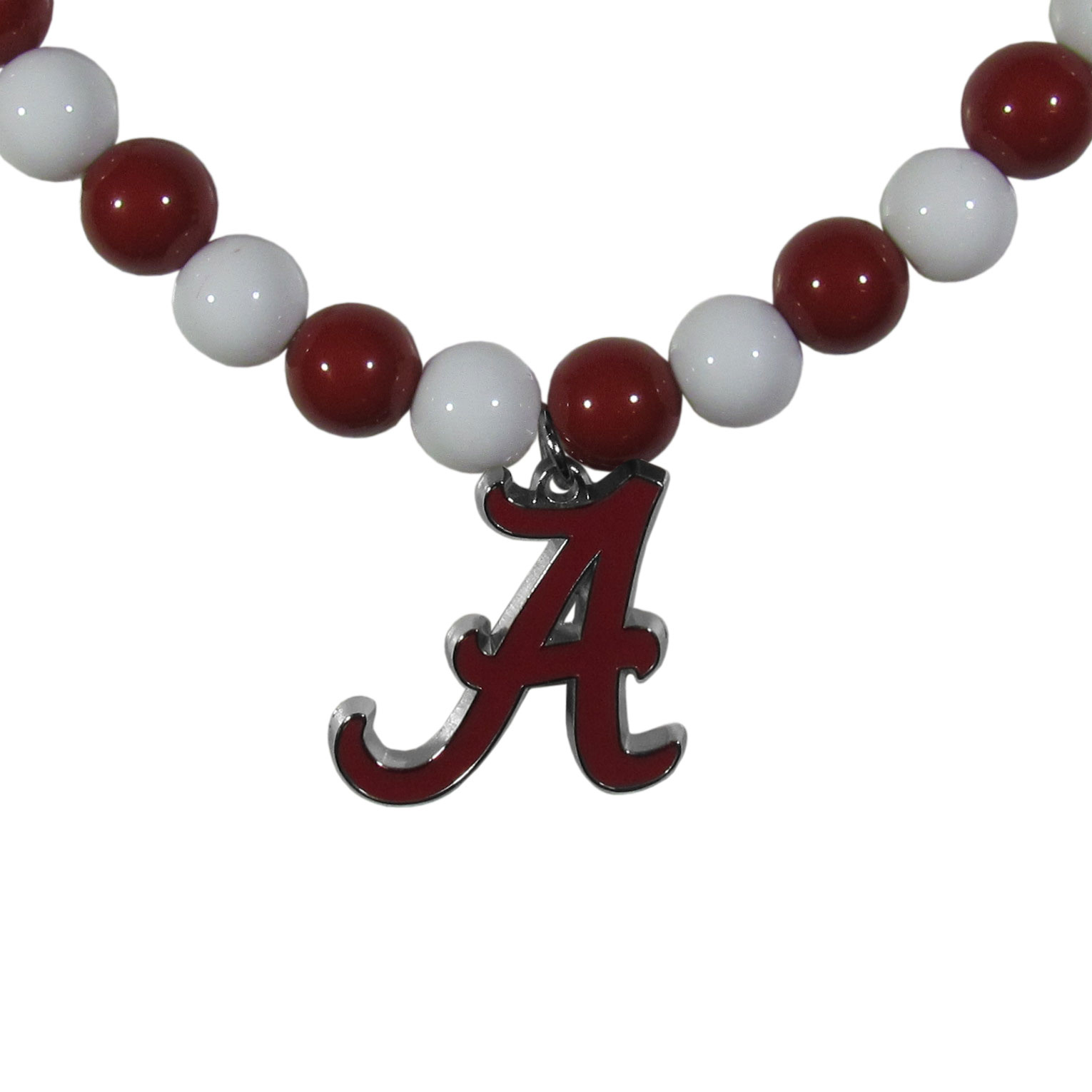 Alabama Crimson Tide Fan Bead Necklace - Make a big statement with our fan bead necklaces! These brightly colored necklace have a 24 inch string of alternating colored beads with an extra large, high-polish Alabama Crimson Tide pendant.