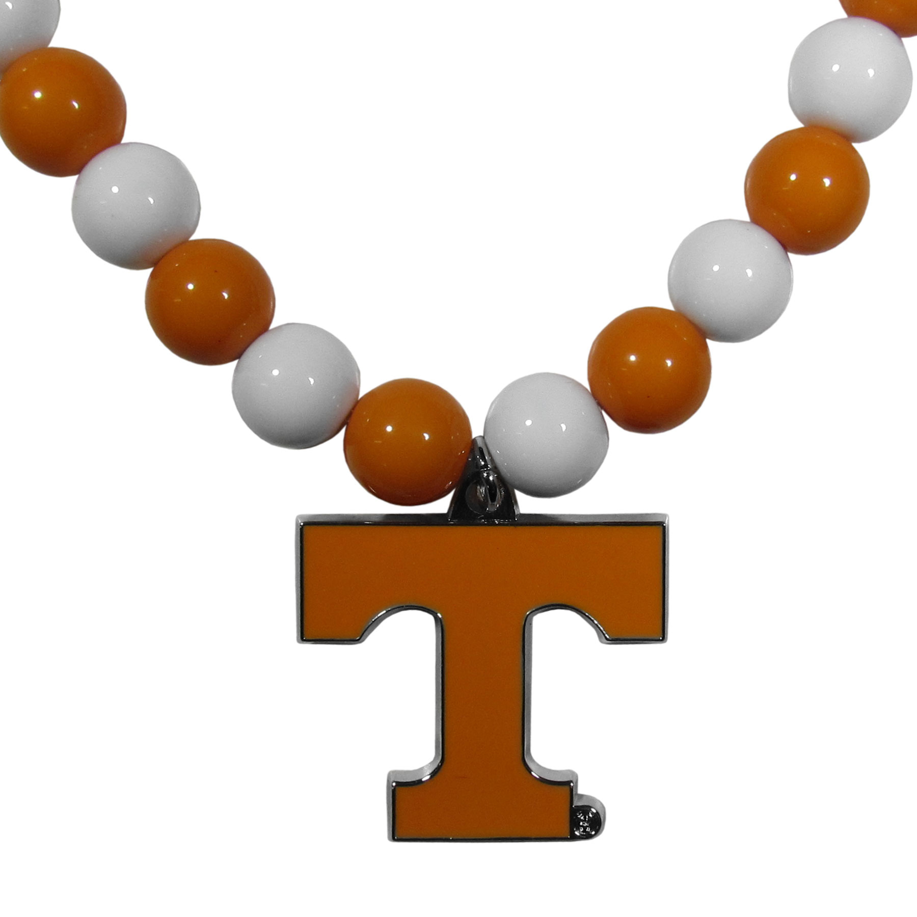 Tennessee Volunteers Fan Bead Necklace - Make a big statement with our fan bead necklaces! These brightly colored necklace have a 24 inch string of alternating colored beads with an extra large, high-polish Tennessee Volunteers pendant.