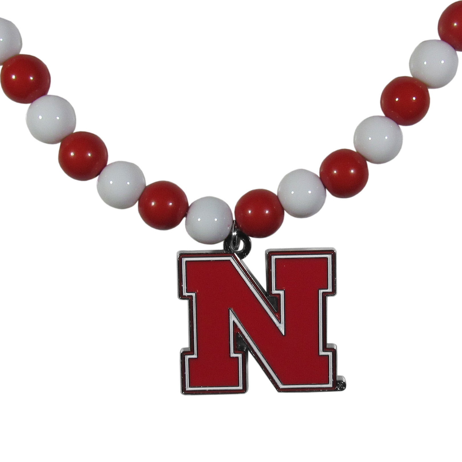 Nebraska Cornhuskers Fan Bead Necklace - Make a big statement with our fan bead necklaces! These brightly colored necklace have a 24 inch string of alternating colored beads with an extra large, high-polish Nebraska Cornhuskers pendant.