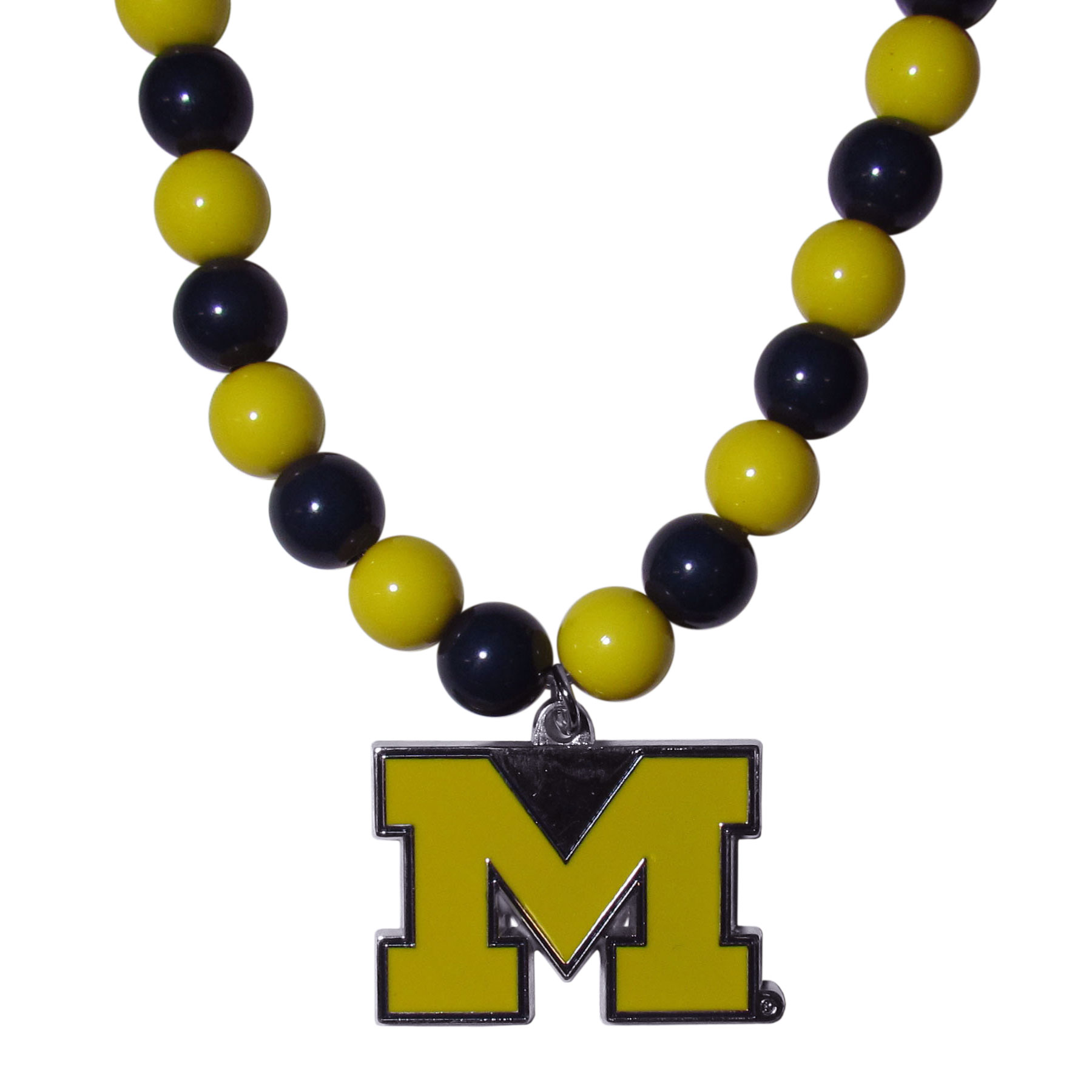 Michigan Wolverines Fan Bead Necklace - Make a big statement with our fan bead necklaces! These brightly colored necklace have a 24 inch string of alternating colored beads with an extra large, high-polish Michigan Wolverines pendant.