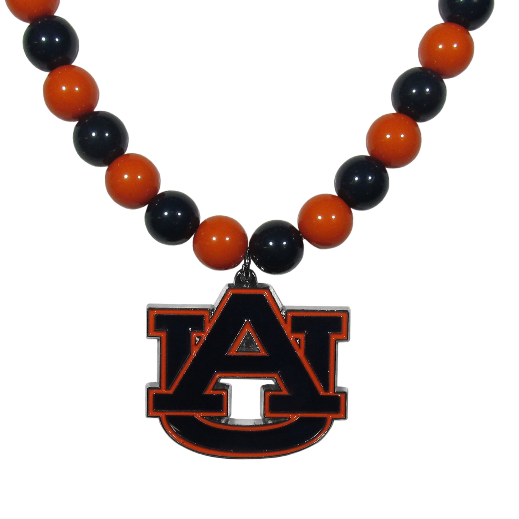 Auburn Tigers Fan Bead Necklace - Make a big statement with our fan bead necklaces! These brightly colored necklace have a 24 inch string of alternating colored beads with an extra large, high-polish Auburn Tigers pendant.