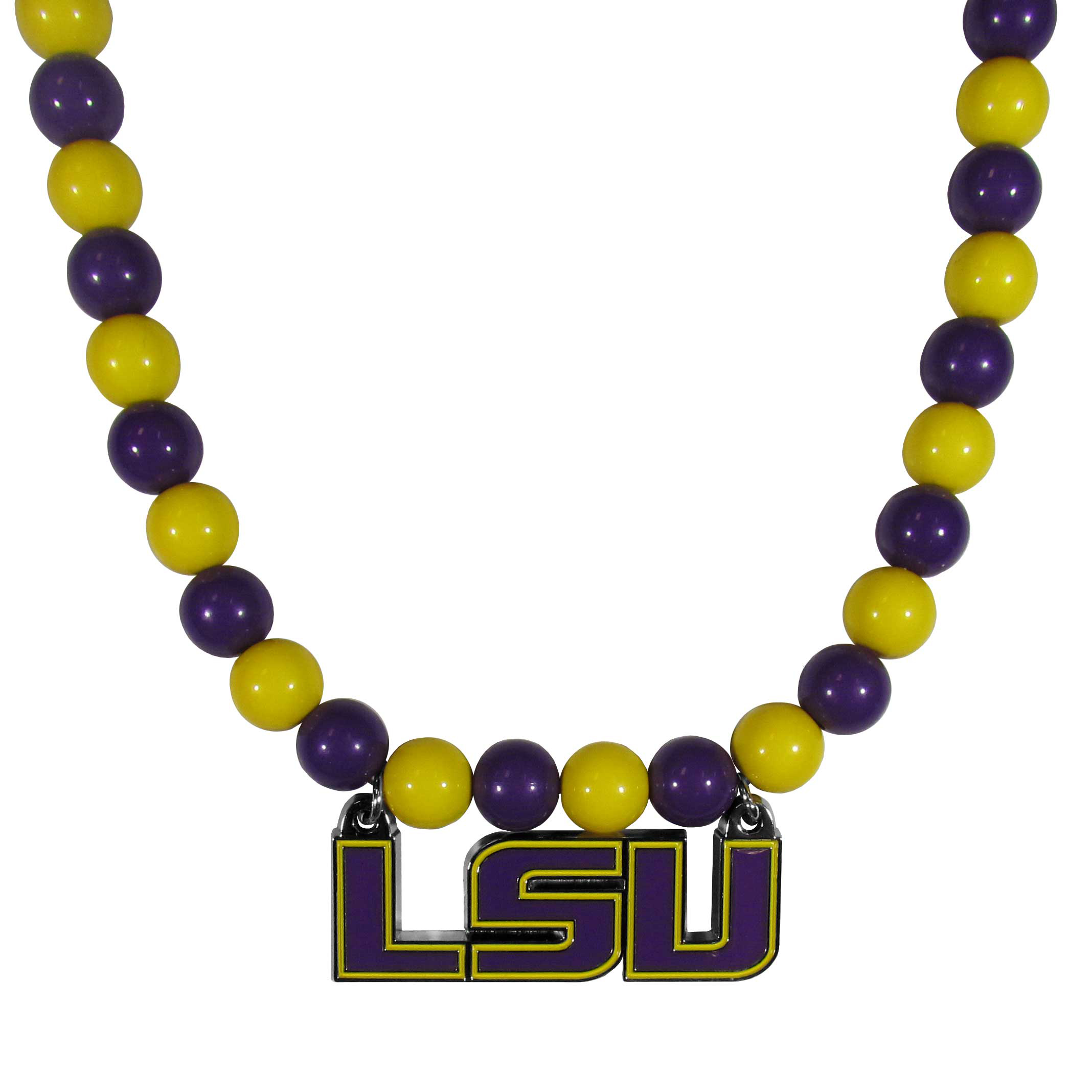 LSU Tigers Fan Bead Necklace - Make a big statement with our fan bead necklaces! These brightly colored necklace have a 24 inch string of alternating colored beads with an extra large, high-polish LSU Tigers pendant.