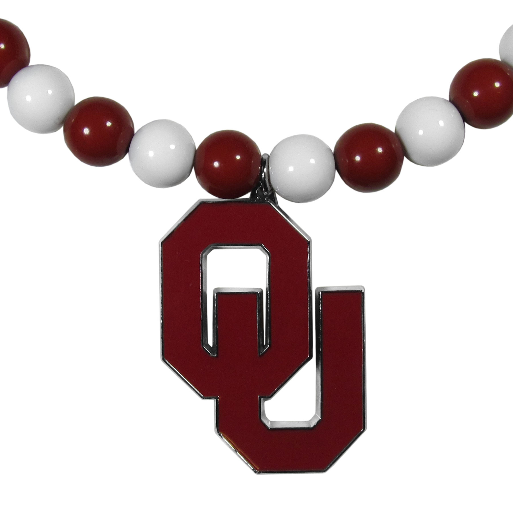 Oklahoma Sooners Fan Bead Necklace - Make a big statement with our fan bead necklaces! These brightly colored necklace have a 24 inch string of alternating colored beads with an extra large, high-polish Oklahoma Sooners pendant.