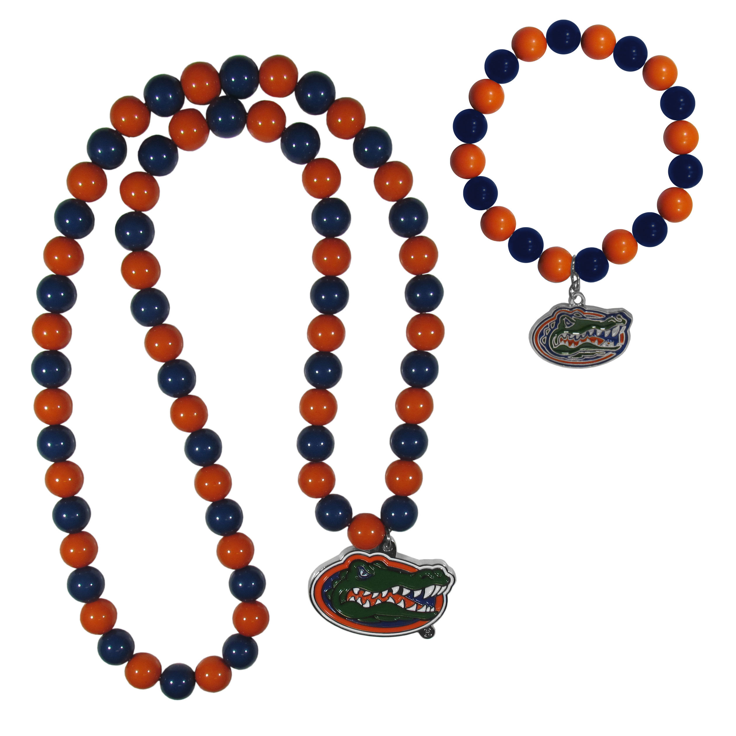 Florida Gators Fan Bead Necklace and Bracelet Set - These fun and colorful Florida Gators fan bead jewelry pieces are an eyecatching way to show off your team spirit. The striking necklace is a 24 inch string of alternating team colored beads with a large team pendant. The mathcing bracelet has alternating team colored beads on a stretch cord and features a matching team charm.