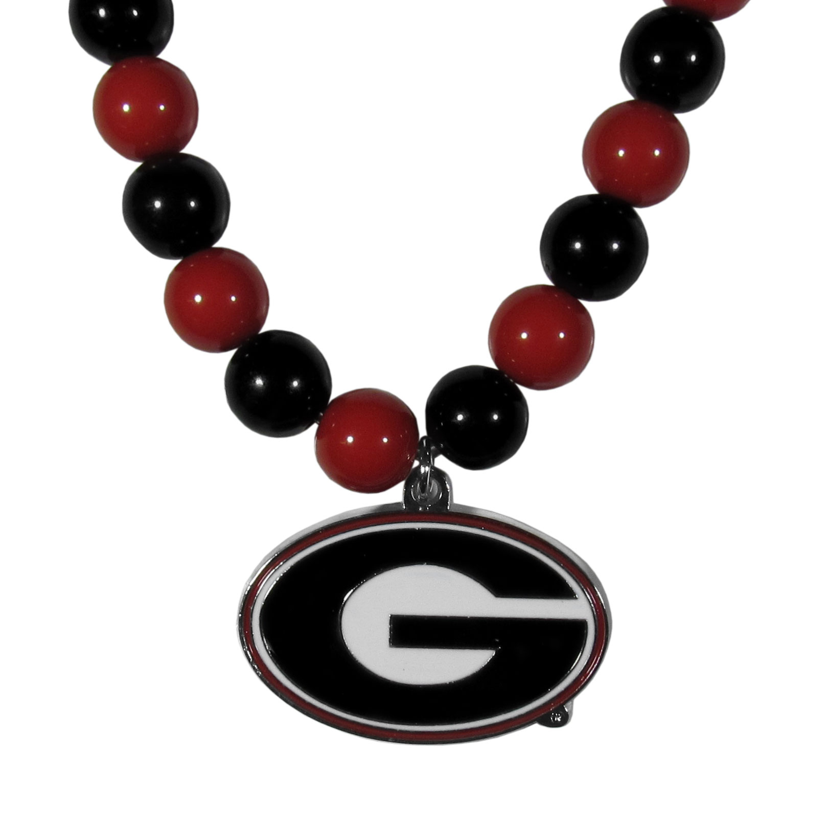 Georgia Bulldogs Fan Bead Necklace - Make a big statement with our fan bead necklaces! These brightly colored necklace have a 24 inch string of alternating colored beads with an extra large, high-polish Georgia Bulldogs pendant.