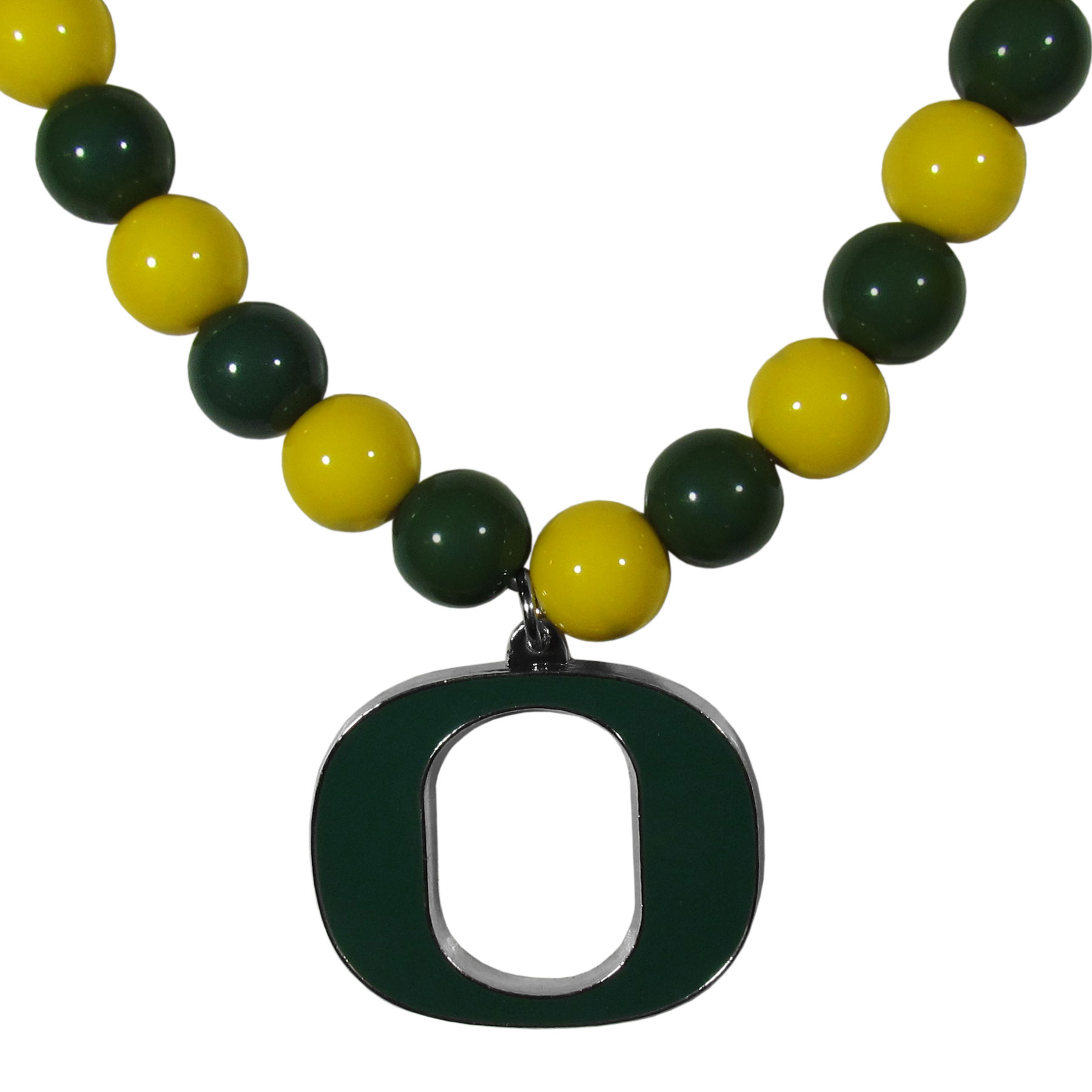 Oregon Ducks Fan Bead Necklace - Make a big statement with our fan bead necklaces! These brightly colored necklace have a 24 inch string of alternating colored beads with an extra large, high-polish Oregon Ducks pendant.