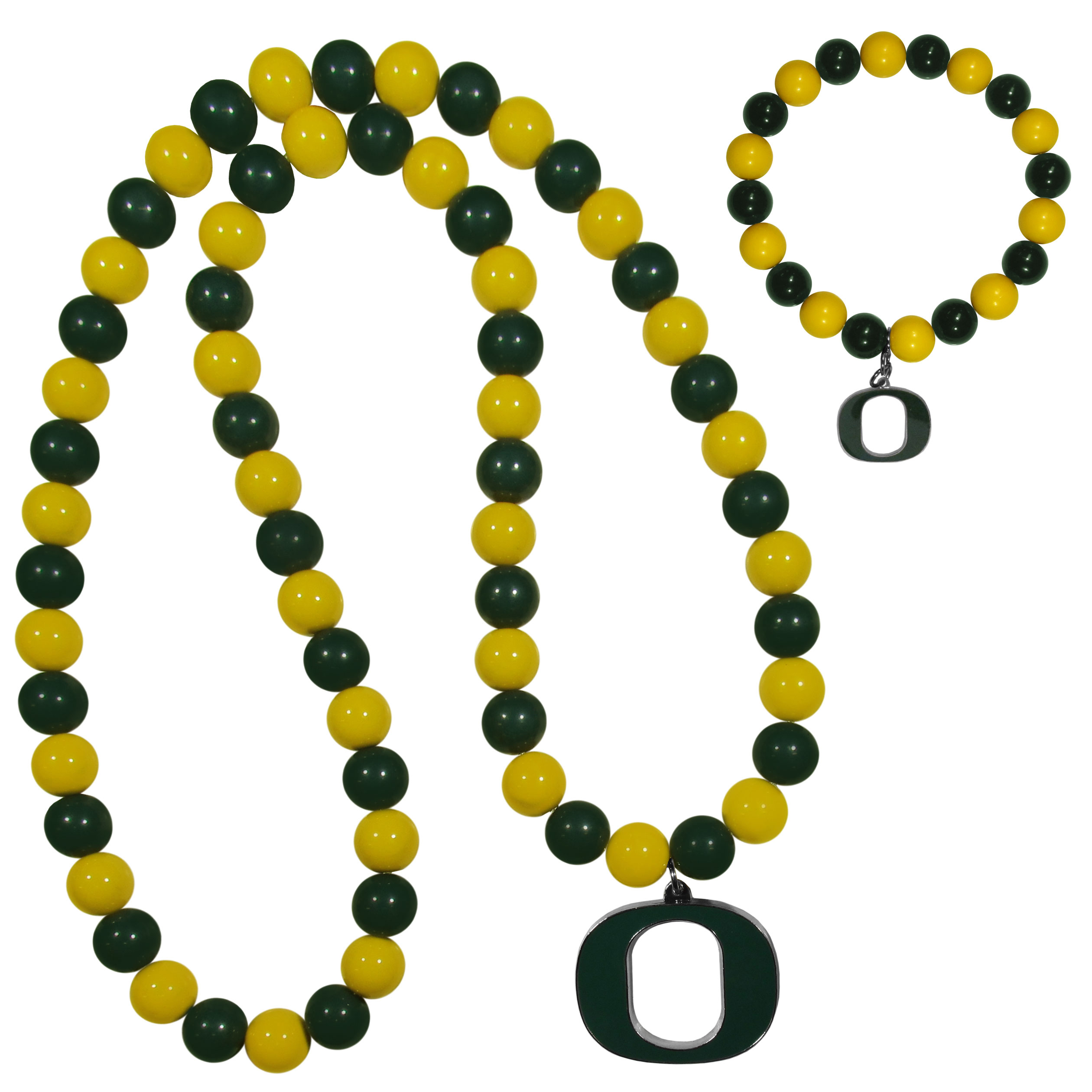 Oregon Ducks Fan Bead Necklace and Bracelet Set - These fun and colorful Oregon Ducks fan bead jewelry pieces are an eyecatching way to show off your team spirit. The striking necklace is a 24 inch string of alternating team colored beads with a large team pendant. The mathcing bracelet has alternating team colored beads on a stretch cord and features a matching team charm.