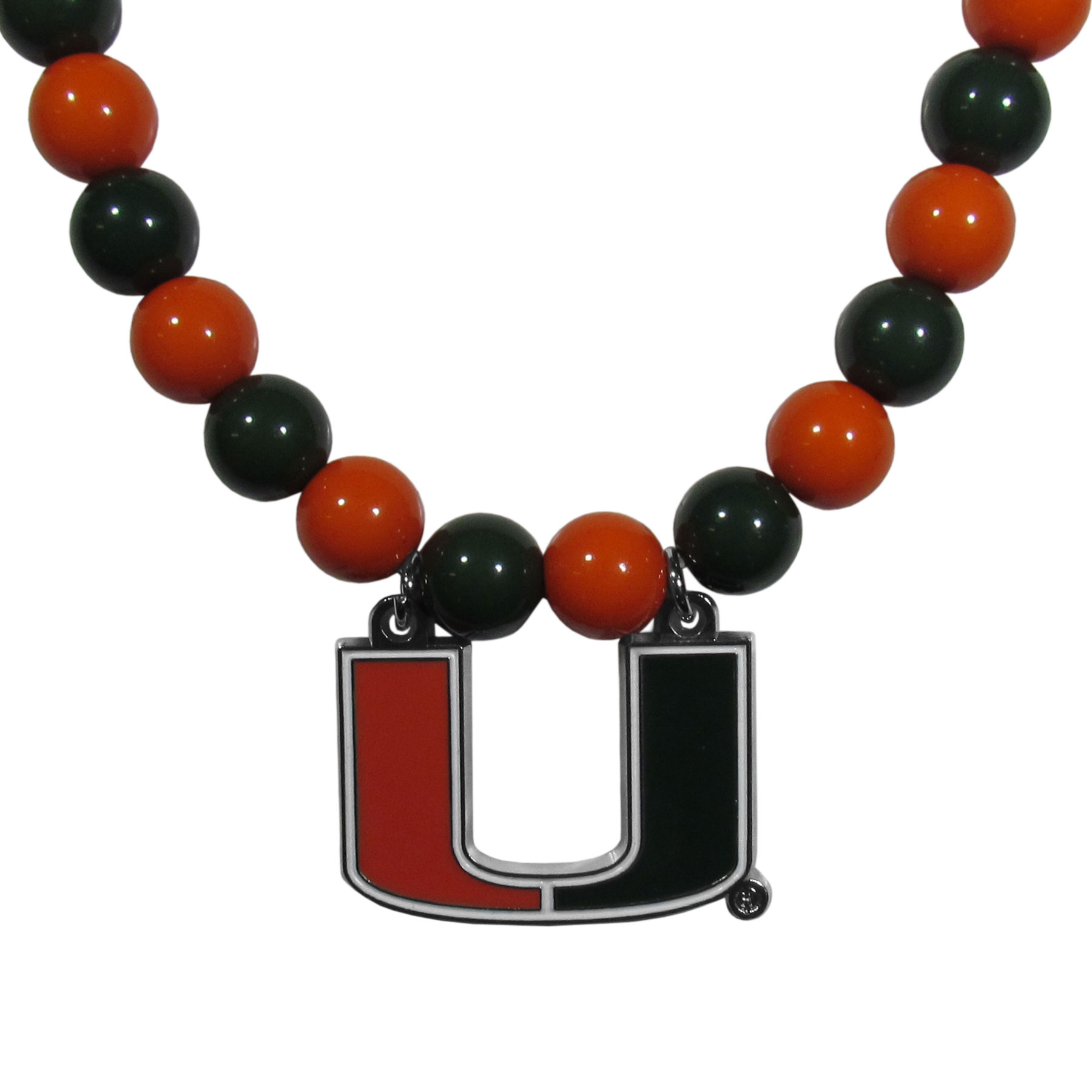Miami Hurricanes Fan Bead Necklace - Make a big statement with our fan bead necklaces! These brightly colored necklace have a 24 inch string of alternating colored beads with an extra large, high-polish Miami Hurricanes pendant.
