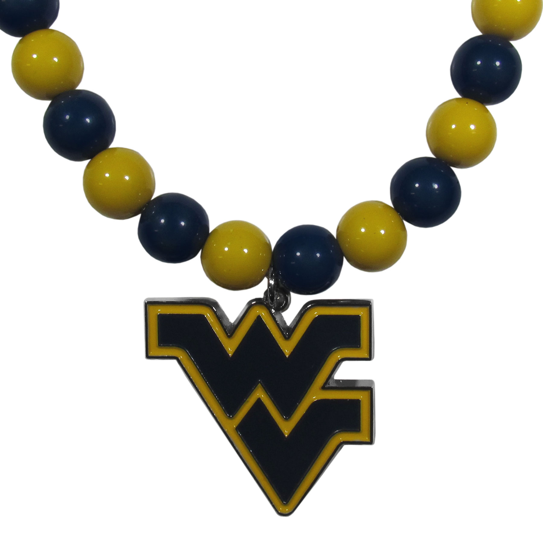 W. Virginia Mountaineers Fan Bead Necklace - Make a big statement with our fan bead necklaces! These brightly colored necklace have a 24 inch string of alternating colored beads with an extra large, high-polish W. Virginia Mountaineers pendant.