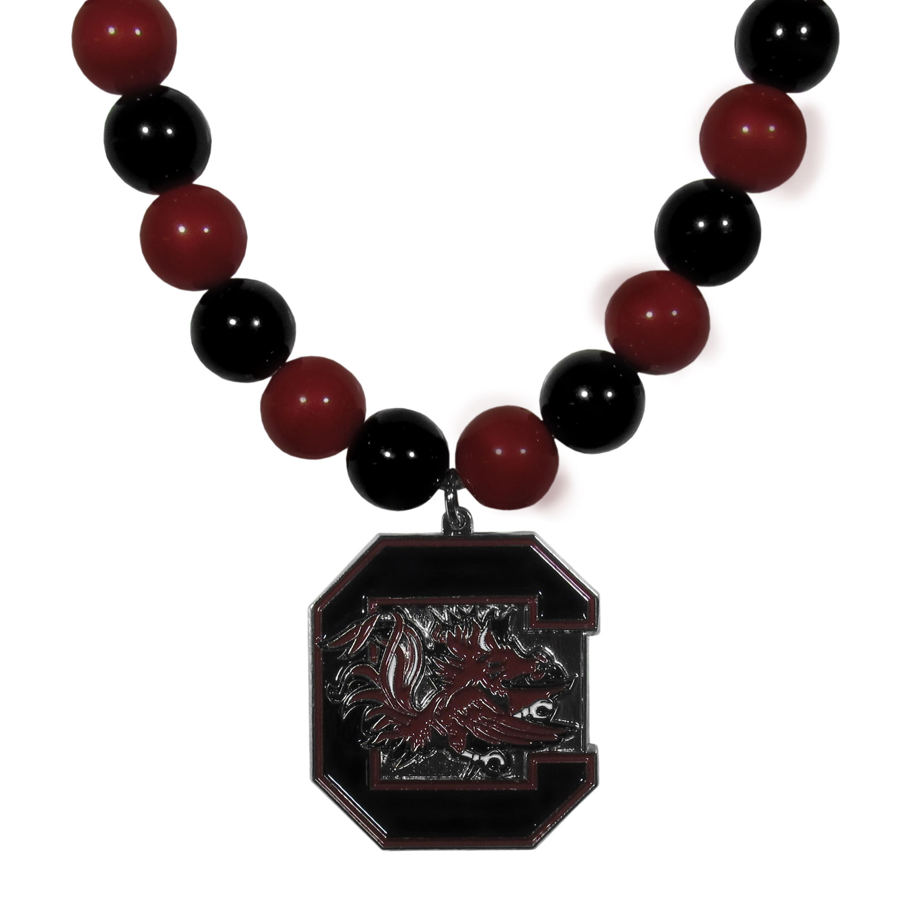 S. Carolina Gamecocks Fan Bead Necklace - Make a big statement with our fan bead necklaces! These brightly colored necklace have a 24 inch string of alternating colored beads with an extra large, high-polish S. Carolina Gamecocks pendant.