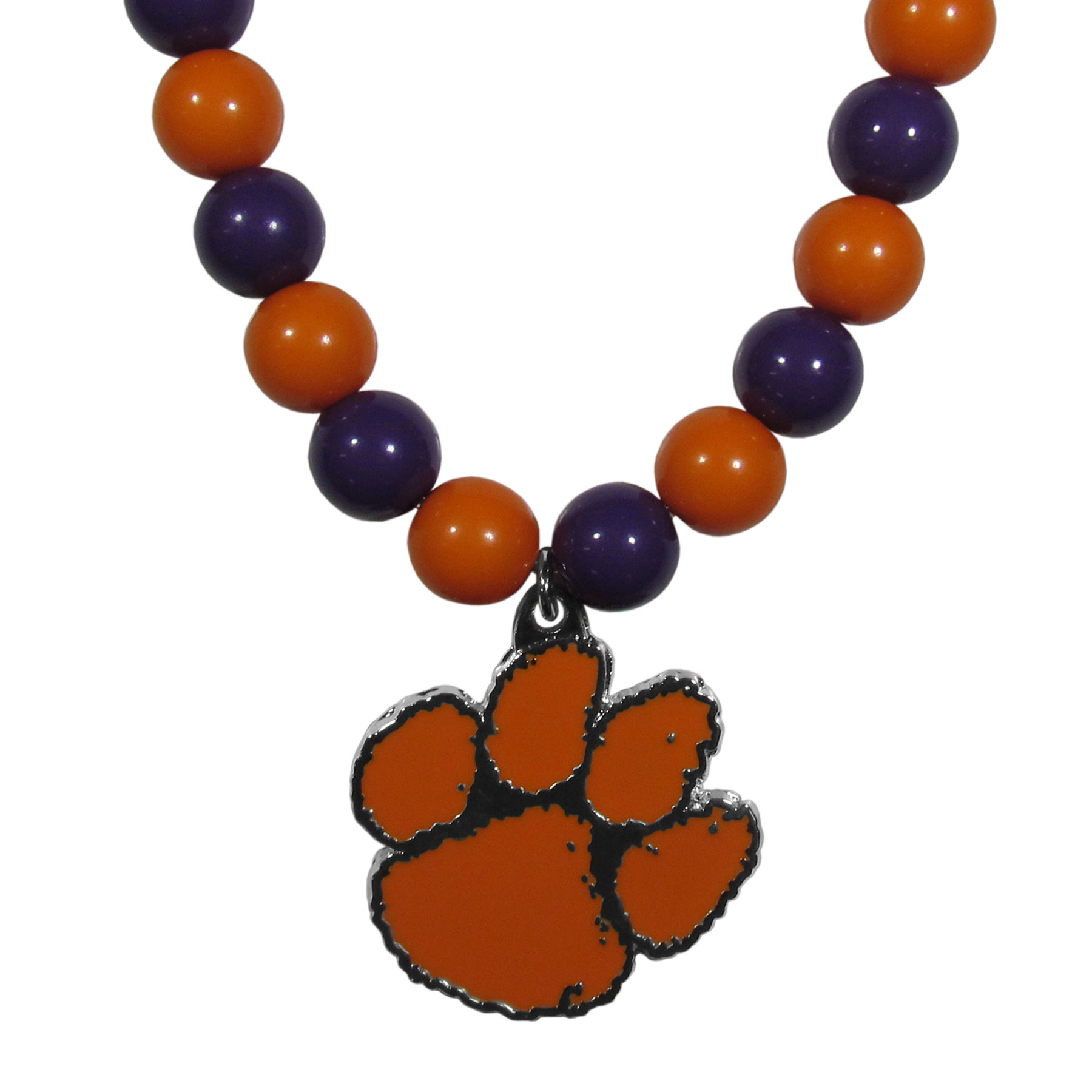Clemson Tigers Fan Bead Necklace - Make a big statement with our fan bead necklaces! These brightly colored necklace have a 24 inch string of alternating colored beads with an extra large, high-polish Clemson Tigers pendant.