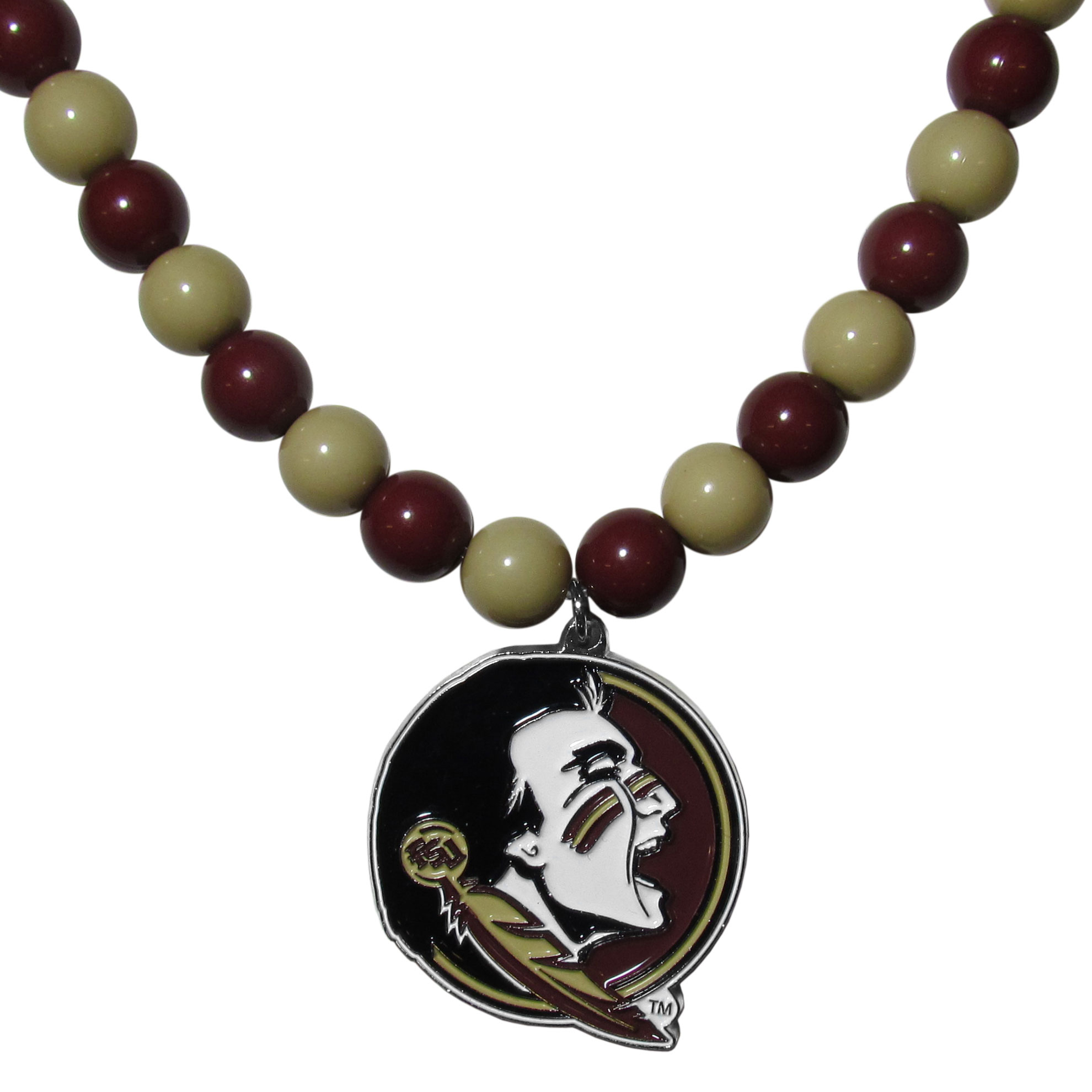 Florida St. Seminoles Fan Bead Necklace - Make a big statement with our fan bead necklaces! These brightly colored necklace have a 24 inch string of alternating colored beads with an extra large, high-polish Florida St. Seminoles pendant.