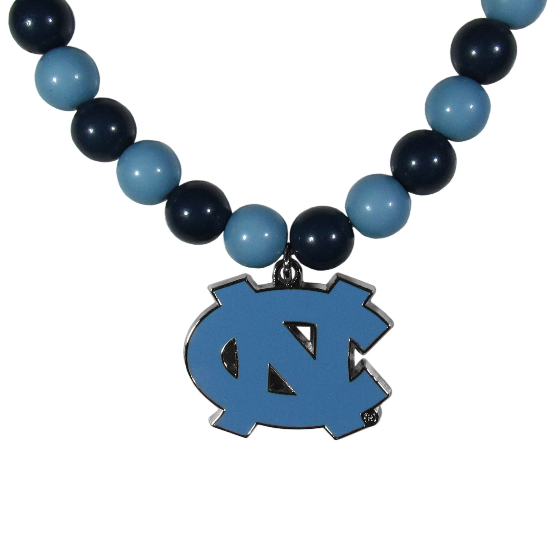 N. Carolina Tar Heels Fan Bead Necklace - Make a big statement with our fan bead necklaces! These brightly colored necklace have a 24 inch string of alternating colored beads with an extra large, high-polish N. Carolina Tar Heels pendant.