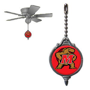 Maryland Terrapins Ceiling Fan and Light Pull - Maryland Terrapins collegiate ceiling fan and light pull attaches to the cord of standard ceiling fans and features a school logo on both sides. Thank you for shopping with CrazedOutSports.com