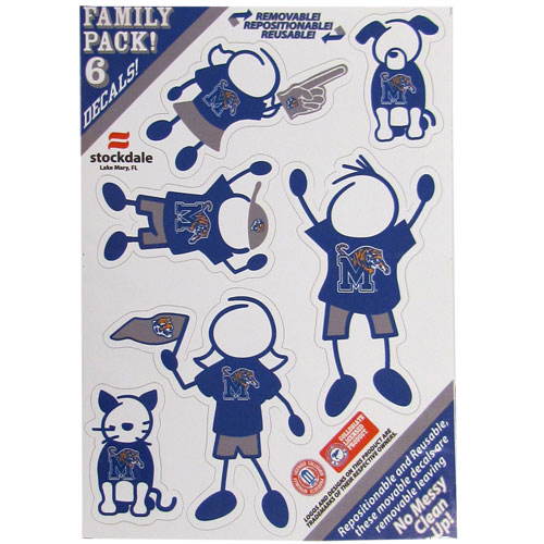 "Memphis Tigers Family Decals Set Small - Show off your team pride with our Memphis Tigers family automotive decals. The Memphis Tigers Family Decals Set Small includes 6 individual family themed decals that each feature the team logo. The 5"" x 7"" Memphis Tigers Family Decals Set is made of outdoor rated, repositionable vinyl for durability and easy application.  Thank you for shopping with CrazedOutSports.com"