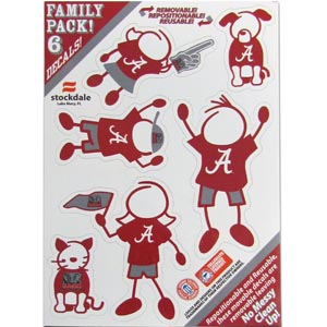 "Alabama Crimson Tide Family Decals Sm. - Show off your team pride with our Alabama Crimson Tide family automotive decals. The set includes 6 individual family themed decals that each feature the team logo. The 5"" x 7"" decal set is made of outdoor rated, repositionable vinyl for durability and easy application.  Thank you for shopping with CrazedOutSports.com"