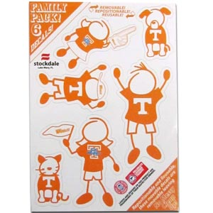"Tennessee Family Decals Sm. - Show off your team pride with our Tennessee Volunteers family automotive decals. The set includes 6 individual family themed decals that each feature the team logo. The 5"" x 7"" decal set is made of outdoor rated, repositionable vinyl for durability and easy application.  Thank you for shopping with CrazedOutSports.com"