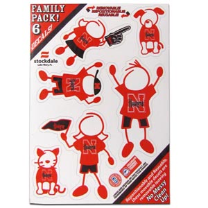 "Nebraska Family Decals Sm. - Show off your team pride with our Nebraska Cornhuskers family automotive decals. The set includes 6 individual family themed decals that each feature the team logo. The 5"" x 7"" decal set is made of outdoor rated, repositionable vinyl for durability and easy application.  Thank you for shopping with CrazedOutSports.com"
