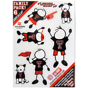 "Texas Tech Family Decals Sm. - Show off your team pride with our Texas Tech Raiders family automotive decals. The set includes 6 individual family themed decals that each feature the team logo. The 5"" x 7"" decal set is made of outdoor rated, repositionable vinyl for durability and easy application.  Thank you for shopping with CrazedOutSports.com"