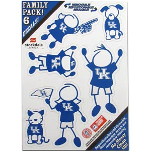 "Kentucky Family Decals Sm. - Show off your team pride with our Kentucky Wildcats family automotive decals. The set includes 6 individual family themed decals that each feature the team logo. The 5"" x 7"" decal set is made of outdoor rated, repositionable vinyl for durability and easy application.  Thank you for shopping with CrazedOutSports.com"
