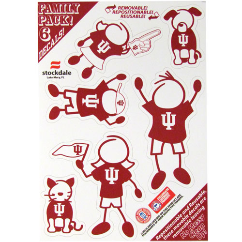 "Indiana Hoosiers Family Decals Small - Show off your team pride with ourIndiana Hoosiers Family Decals Smallfamily automotive decals. The set includes 6 individual family themed decals that each feature the team logo. The 5"" x 7"" decal set is made of outdoor rated, repositionable vinyl for durability and easy application.  Thank you for shopping with CrazedOutSports.com"