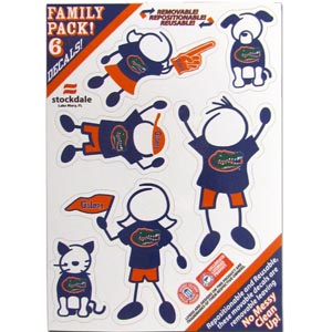"Florida Gators Family Decals Small - Show off your Florida Gators team pride with our Florida Gators family automotive decals. The set includes 6 individual family themed decals that each feature the team logo. The 5"" x 7"" decal set is made of outdoor rated, repositionable vinyl for durability and easy application.  Thank you for shopping with CrazedOutSports.com"