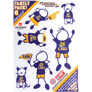 "LSU Family Decal Set Small - Show off your team pride with our LSU Tigers family automotive decals. The LSU Family Decals set (small) includes 6 individual family themed decals that each feature the team logo. The 5"" x 7"" LSU Tigers decal set is made of outdoor rated, repositionable vinyl for durability and easy application.  Thank you for shopping with CrazedOutSports.com"
