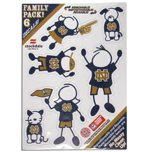 "Notre Dame Family Decals Sm. - Show off your team pride with our Notre Dame Fighting Irish family automotive decals. The set includes 6 individual family themed decals that each feature the team logo. The 5"" x 7"" decal set is made of outdoor rated, repositionable vinyl for durability and easy application.  Thank you for shopping with CrazedOutSports.com"