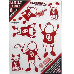 "Oklahoma Family Decals Sm. - Show off your team pride with our Oklahoma Sooners family automotive decals. The set includes 6 individual family themed decals that each feature the team logo. The 5"" x 7"" decal set is made of outdoor rated, repositionable vinyl for durability and easy application.  Thank you for shopping with CrazedOutSports.com"
