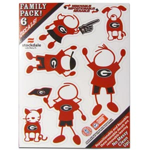 "Georgia Bulldogs Family Decals Small - Show off your team pride with our Georgia Bulldogs family automotive decals. The Georgia Bulldogs Family Decal set includes 6 individual family themed decals that each feature the team logo. The 5"" x 7"" decal set is made of outdoor rated, repositionable vinyl for durability and easy application.  Thank you for shopping with CrazedOutSports.com"