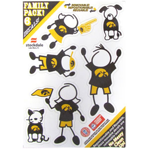 "Iowa Hawkeyes Family Decals - Show off your team pride with our Iowa Hawkeyes family automotive decals. The Iowa Hawkeyes Family Decal set includes 6 individual family themed decals that each feature the team logo. The 5"" x 7"" decal set is made of outdoor rated, repositionable vinyl for durability and easy application.  Thank you for shopping with CrazedOutSports.com"