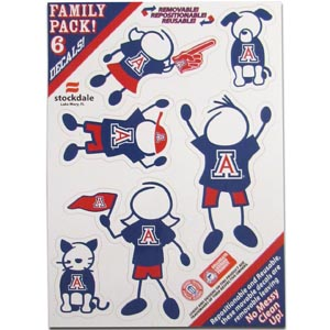 "Arizona Family Decals Sm. - Show off your team pride with our Arizona Wildcats family automotive decals. The set includes 6 individual family themed decals that each feature the team logo. The 5"" x 7"" decal set is made of outdoor rated, repositionable vinyl for durability and easy application.  Thank you for shopping with CrazedOutSports.com"