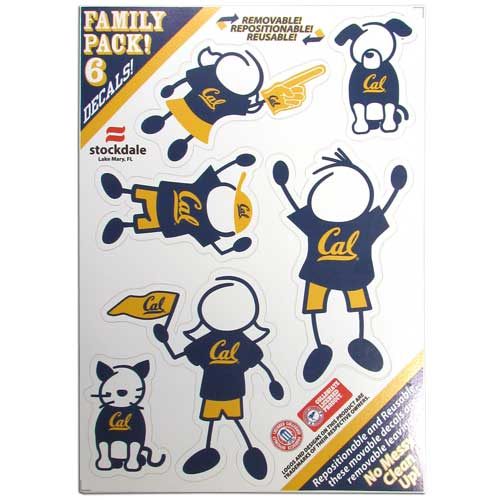 "Cal Berkeley Bears Family Decals - Show off your team pride with our Cal Berkeley Bears family automotive decals. The set includes 6 individual family themed decals that each feature the team logo. The 5"" x 7"" decal set is made of outdoor rated, repositionable vinyl for durability and easy application.  Thank you for shopping with CrazedOutSports.com"