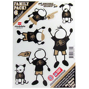 "Colorado Buffaloes Family Decals - Show off your team pride with our Colorado Buffaloes family automotive decals. The set includes 6 individual family themed decals that each feature the team logo. The 5"" x 7"" decal set is made of outdoor rated, repositionable vinyl for durability and easy application.  Thank you for shopping with CrazedOutSports.com"