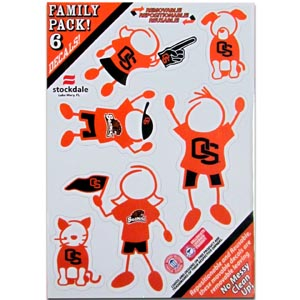 "Oregon St.  Family Decals Sm. - Show off your team pride with our Oregon St. Beavers family automotive decals. The set includes 6 individual family themed decals that each feature the team logo. The 5"" x 7"" decal set is made of outdoor rated, repositionable vinyl for durability and easy application.  Thank you for shopping with CrazedOutSports.com"